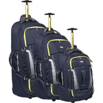 High Sierra Composite V3 Wheeled Duffel with Backpack Straps Set of 3 Navy 87274, 87275, 87276 with FREE Samsonite Luggage Scale 34042