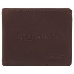 Vault Men's Fullgrain RFID Blocking Slimline Leather Wallet Brown M002