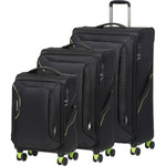 American Tourister Applite 3.0S Softside Suitcase Set of 3 Black 91972, 91973, 91974 with FREE Samsonite Luggage Scale 34042