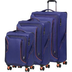 American Tourister Applite 3.0S Softside Suitcase Set of 3 Bodega Blue 91972, 91973, 91974 with FREE Samsonite Luggage Scale 34042