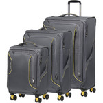 American Tourister Applite 3.0S Softside Suitcase Set of 3 Lightning Grey 91972, 91973, 91974 with FREE Samsonite Luggage Scale 34042