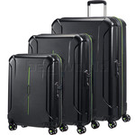 American Tourister Technum Hardside Suitcase Set of 3 Black 89304, 89303, 91849 with FREE Samsonite Luggage Scale 34042