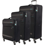 American Tourister Herolite Softside Suitcase Set of 3 Volcanic Black 93012, 93011, 93010 with FREE Samsonite Luggage Scale 34042