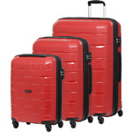 Qantas Brisbane Hardside Suitcase Set of 3 Red 78079, 78068, 78056 with FREE Go Travel Luggage Scale G2006
