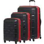Qantas Brisbane Hardside Suitcase Set of 3 Black 78079, 78068, 78056 with FREE Go Travel Luggage Scale G2006