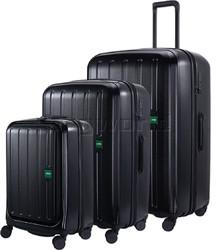 Lojel Lucid 2 Hardside Suitcase Set of 3 Black JLT54, JLT70, JLT79 with FREE Lojel Luggage Scale OCS27