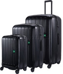 Lojel Lucid 2 Hardside Suitcase Set of 3 Black JLT54, JLT70, JLT79 with FREE Lojel Luggage Scale OCS27