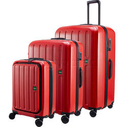 Lojel Lucid 2 Hardside Suitcase Set of 3 Red JLT54, JLT70, JLT79 with FREE Lojel Luggage Scale OCS27