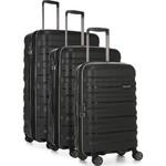 Antler Juno 2 Hardside Suitcase Set of 3 Black 42215, 42216, 42219 with FREE GO Travel Luggage Scale G2006