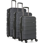 Antler Juno 2 Hardside Suitcase Set of 3 Charcoal 42215, 42216, 42219 with FREE GO Travel Luggage Scale G2006