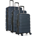 Antler Juno 2 Hardside Suitcase Set of 3 Navy 42215, 42216, 42219 with FREE GO Travel Luggage Scale G2006