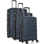 Antler Juno 2 Hardside Suitcase Set of 3 Navy 42215, 42216, 42219 with FREE GO Travel Luggage Scale G2006