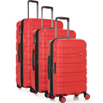 Antler Juno 2 Hardside Suitcase Set of 3 Red 42215, 42216, 42219 with FREE GO Travel Luggage Scale G2006