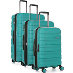 Antler Juno 2 Hardside Suitcase Set of 3 Teal 42215, 42216, 42219 with FREE GO Travel Luggage Scale G2006