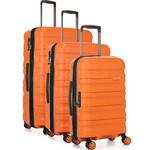 Antler Juno 2 Hardside Suitcase Set of 3 Orange 42215, 42216, 42219 with FREE GO Travel Luggage Scale G2006