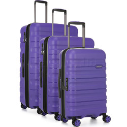 Antler Juno 2 Hardside Suitcase Set of 3 Purple 42215, 42216, 42219 with FREE GO Travel Luggage Scale G2006