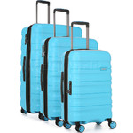 Antler Juno 2 Hardside Suitcase Set of 3 Turquoise 42215, 42216, 42219 with FREE GO Travel Luggage Scale G2006