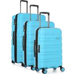 Antler Juno 2 Hardside Suitcase Set of 3 Turquoise 42215, 42216, 42219 with FREE GO Travel Luggage Scale G2006