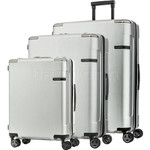 Samsonite Evoa Hardside Suitcase Set of 3 Brushed Silver 92055, 92054, 92053 with FREE Samsonite Luggage Scale 34042