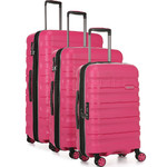 Antler Juno 2 Hardside Suitcase Set of 3 Pink 42215, 42216, 42219 with FREE GO Travel Luggage Scale G2006