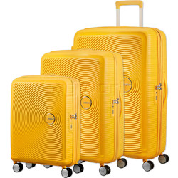 American Tourister Curio Hardside Suitcase Set of 3 Golden Yellow 87999, 86229, 86230 with FREE Samsonite Luggage Scale 34042