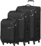 Samsonite Base Boost 2 Softside Suitcase Set of 3 Black 09255, 09257, 09258 with FREE Samsonite Luggage Scale 34042