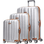 Samsonite Lite-Cube Deluxe Hardside Suitcase Set of 3 Aluminium 61242, 61243, 61245 with FREE Samsonite Luggage Scale 34042