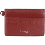 Lipault Plume Elegance Leather Card Holder Ruby 05387