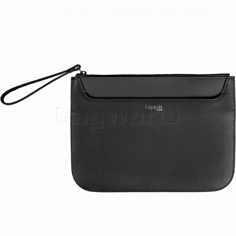 ce83b60249b7 Lipault Plume Elegance Leather Clutch Black 91558