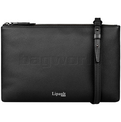 Lipault Plume Elegance Leather Multi Pouch Bag Black 05384