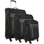 Antler Translite Softside Suitcase Set of 3 Black 39015, 39016, 39026 with FREE GO Travel Luggage Scale G2006