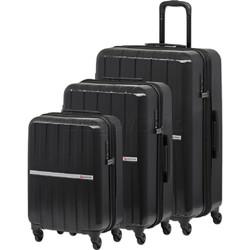Qantas Bondi Hardside Suitcase Set of 3 Black 74077, 74067, 74055 with FREE Go Travel Luggage Scale G2006