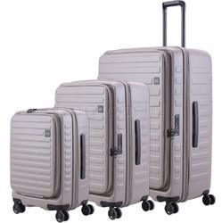 Lojel Cubo Hardside Suitcase Set of 3 Warm Grey JCU55, JCU65, JCU78 with FREE Lojel Luggage Scale OCS27