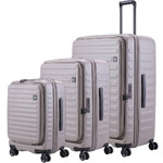 Lojel Cubo Hardside Suitcase Set of 3 Warm Grey JCU55, JCU65, JCU78 with FREE Lojel Luggage Scale OCS27