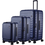 Lojel Cubo Hardside Suitcase Set of 3 Navy JCU55, JCU65, JCU78 with FREE Lojel Luggage Scale OCS27