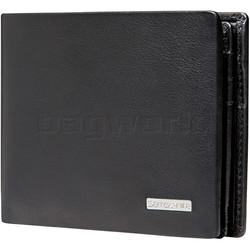 Samsonite RFID DLX Leather Wallet with Coin Pocket Black 91522