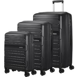 American Tourister Sunside Hardside Suitcase Set of 3 Black 14140, 07527, 07528 with FREE Samsonite Luggage Scale 34042