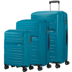 American Tourister Sunside Hardside Suitcase Set of 3 Teal 14140, 07527, 07528 with FREE Samsonite Luggage Scale 34042