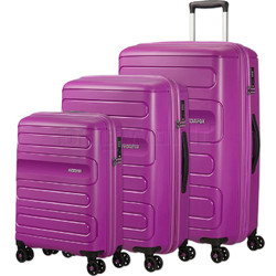 American Tourister Sunside Hardside Suitcase Set of 3 Ultraviolet 14140, 07527, 07528 with FREE Samsonite Luggage Scale 34042