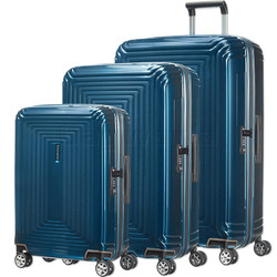 Samsonite Aspero Hardside Suitcase Set of 3 Metallic Blue 91046, 91045, 91044 with FREE Samsonite Luggage Scale 34042