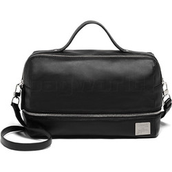 Lipault X Jean Paul Gaultier Leather Boston Bag Black 12382