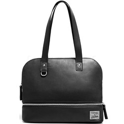 Lipault X Jean Paul Gaultier Leather Shopper Black 12385