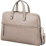 "Samsonite Highline II 15.6"" Laptop & Tablet Bailhandle Leather Briefcase Rose Beige 03165 with FREE Samsonite Business Coffee Cup"