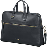 "Samsonite Highline II 15.6"" Laptop & Tablet Bailhandle Leather Briefcase Dark Navy 03165 with FREE Samsonite Business Coffee Cup"