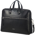 "Samsonite Highline II 15.6"" Laptop & Tablet Bailhandle Leather Briefcase Black 03165 with FREE Samsonite Business Coffee Cup"