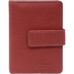 Vault Ladies' PU RFID Blocking Tabbed Credit Card Holder Red W1015