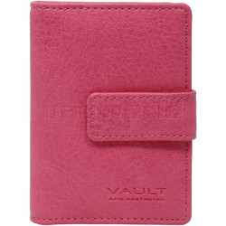 Vault Ladies' PU RFID Blocking Tabbed Credit Card Holder Pink W1015