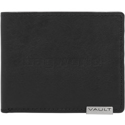 Vault Men's Metal Tab RFID Blocking Micro Leather Wallet Black M2001