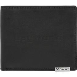 Vault Men's Metal Tab RFID Blocking Slimline Leather Wallet Black M2002