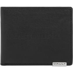 Vault Men's Metal Tab RFID Blocking Top Flap Leather Wallet Black M2003